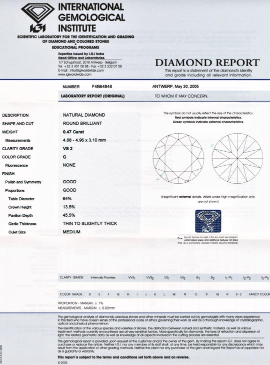 Foto 9, Diamant IGI, Brillant 0,47ct VS2 Top Wesselton G Juwel!, D5552