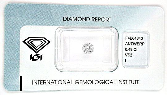 Foto 1, Diamant, IGI-Gutachten !!!, Top-Brillant, 0,49ct Juwel!, D5553