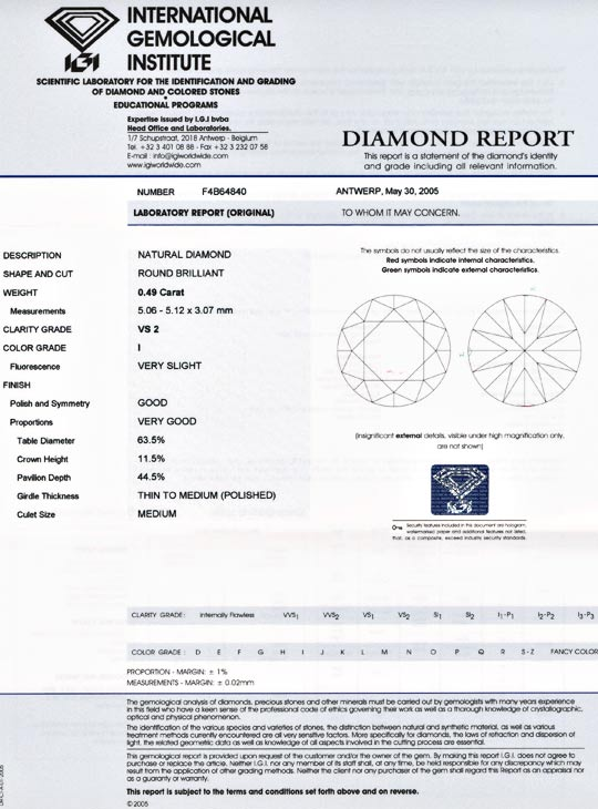 Foto 9, Diamant, IGI-Gutachten !!!, Top-Brillant, 0,49ct Juwel!, D5553