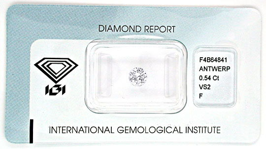 Foto 1, Diamant IGI!!, Brillant 0,54ct feines Weiss Plus Juwel!, D5555