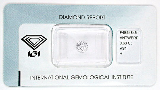 Foto 1, Diamant IGI, Top Brillant 0,63ct Weiss Wesselton Juwel!, D5557
