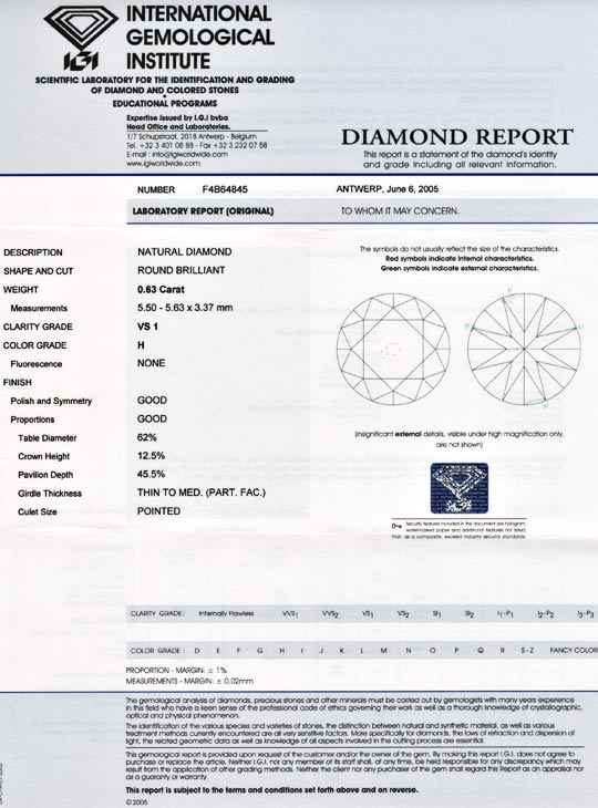 Foto 9, Diamant IGI, Top Brillant 0,63ct Weiss Wesselton Juwel!, D5557