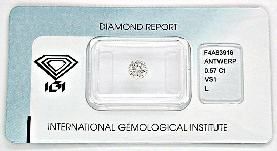 Foto 1, Diamant, Top-Gutachten IGI!, Brillant 0,57ct VS1 Juwel!, D5563