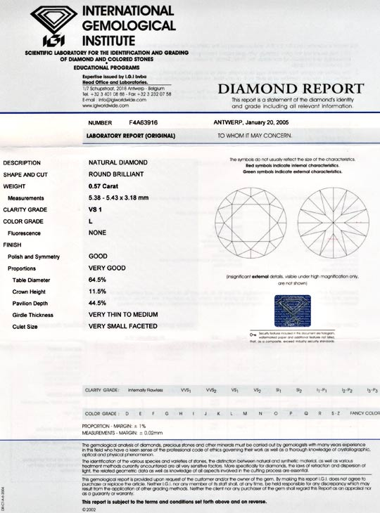 Foto 9, Diamant, Top Gutachten IGI!, Brillant 0,57ct VS1 Juwel!, D5563