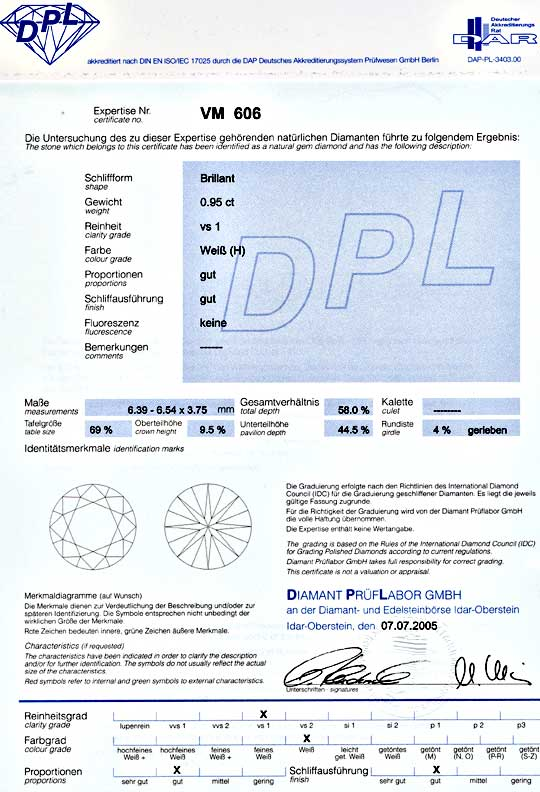 Foto 9, Brillant Diamant DPL 0,956Carat Wesselton H VS1 Diamond, D5580