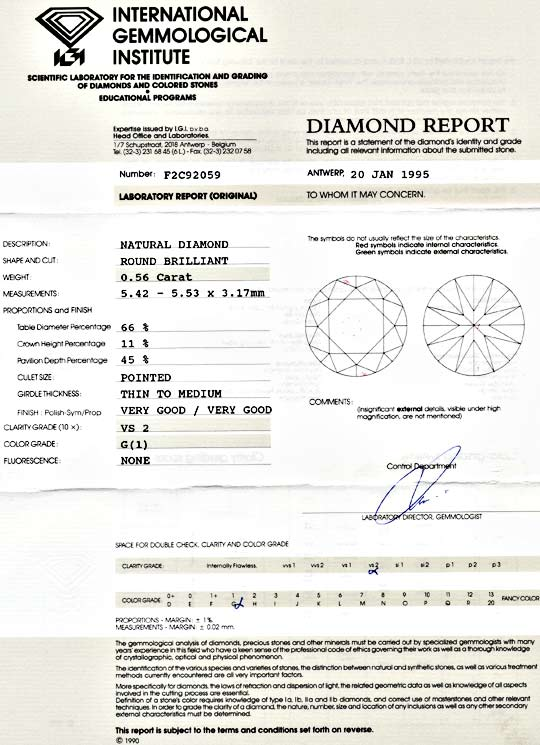 Foto 9, Brillant Diamant 0,56ct Top Wesselton VS2 VG IGI Juwel!, D5583