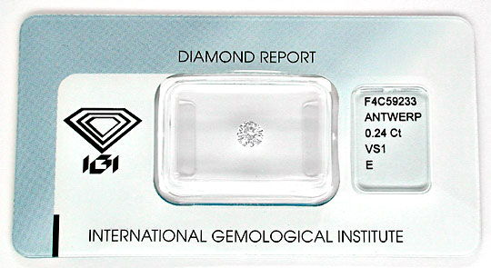 Foto 1, Diamant IGI Expertise! Brillant 0,24ct VS1 River Juwel!, D5608