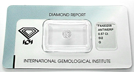 Foto 1, Diamant, IGI!!!, Brillant 0,57ct Top Wesselton G Juwel!, D5616
