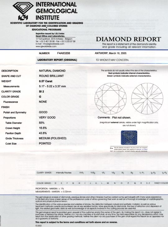 Foto 9, Diamant, IGI!!!, Brillant 0,57ct Top-Wesselton-G Juwel!, D5616