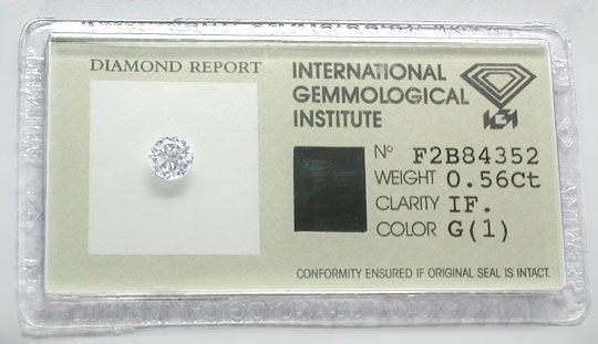 Foto 1, Diamant 0,56ct Lupenrein Top-Wesselton-G IGI-Exp Juwel!, D5625