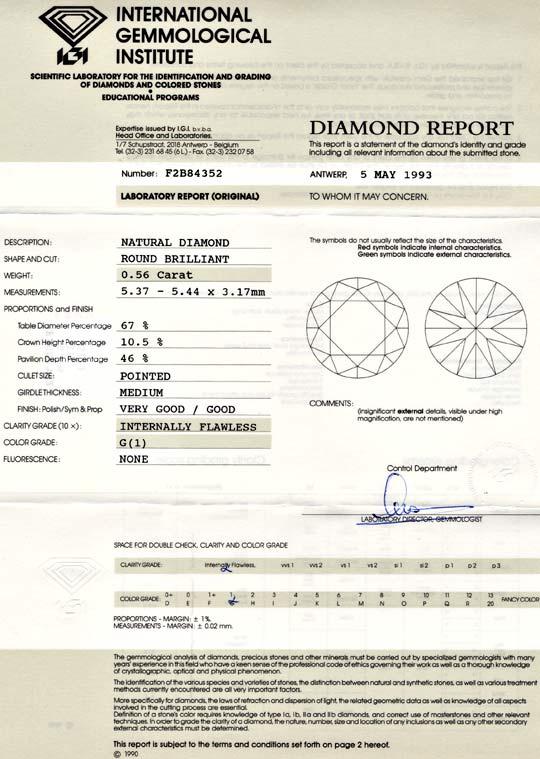 Foto 9, Diamant 0,56ct Lupenrein Top-Wesselton-G IGI-Exp Juwel!, D5625