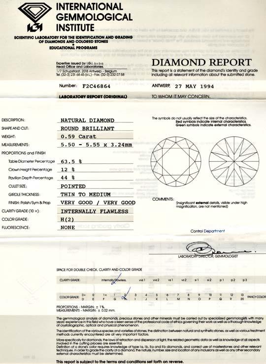 Foto 9, IGI! Diamant 0,59ct Lupenrein! Wesselton-H VG/VG Juwel!, D5627