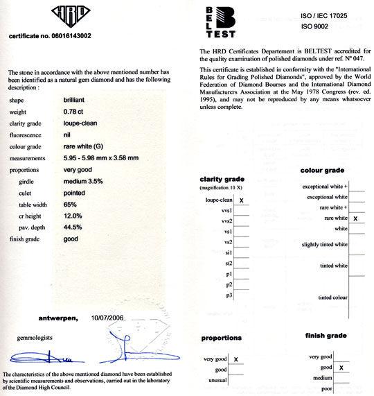 Foto 9, Diamant HRD, 0,781 Carat Top Wesselton Lupenrein Juwel!, D5629