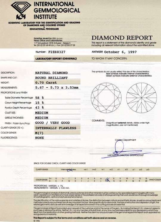 Foto 9, Diamant, Gutachten IGI Brillant 0,70ct Lupenrein Juwel!, D5631
