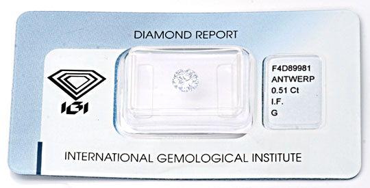 Foto 1, Diamant 0.51 Lupenrein Top-Wesselton-G VG/VG IGI Juwel!, D5632