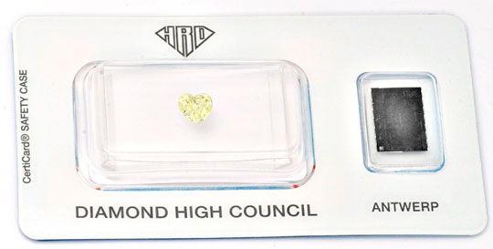 Foto 1, Herz-Diamant HRD-Gutachten 0,53ct Yellow Zitrone Juwel!, D5633