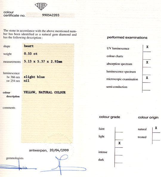 Foto 9, Herz-Diamant HRD-Gutachten 0,53ct Yellow Zitrone Juwel!, D5633