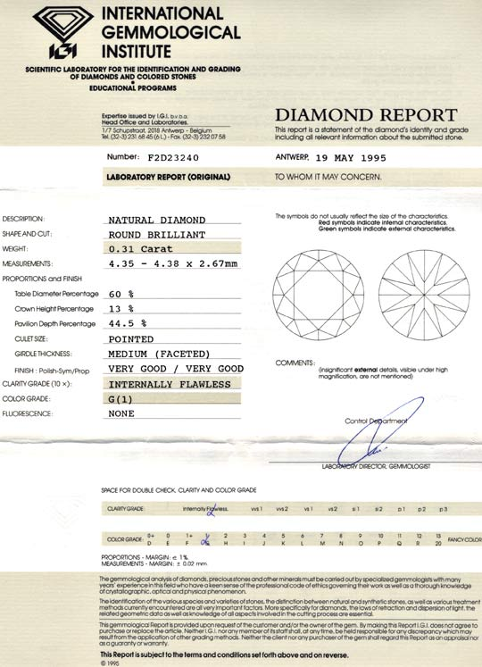 Foto 9, Diamant IGI 0,31ct Lupenrein Top Wesselton VG/VG Juwel!, D5637