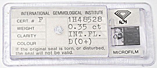 Foto 1, 0,35ct Diamant, Zertifikat IGI Lupenrein River-D Juwel!, D5639