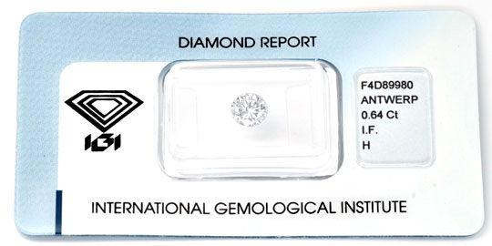 Foto 1, Diamant, IGI, 0,64ct Lupenrein Wesselton, VG/VG, Juwel!, D5641