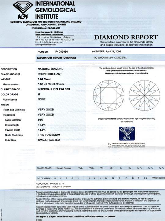 Foto 9, Diamant, IGI, 0,64ct Lupenrein Wesselton, VG/VG, Juwel!, D5641