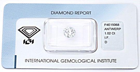 Foto 1, Bester Diamant 1,02 River-D Lupenrein VG/VG IGI Diamond, D5647