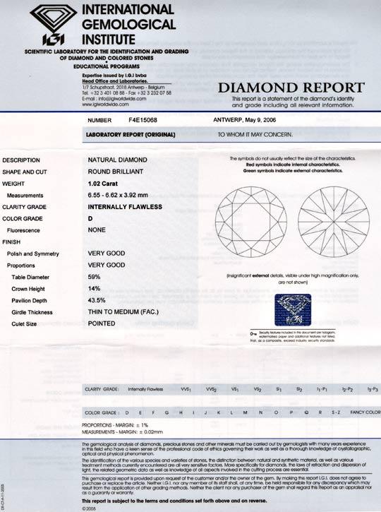 Foto 9, Bester Diamant 1,02 River-D Lupenrein VG/VG IGI Diamond, D5647