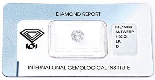 Foto 1, Bester Brillant 1,02 River-D Lupenrein VGVG IGI Diamond, D5648