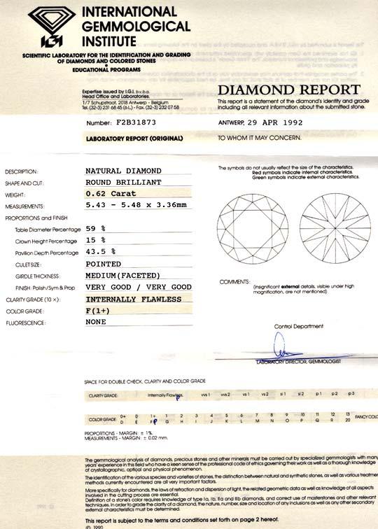 Foto 9, Diamant IGI 0,62ct Lupenrein Topwesselton-F VGVG Juwel!, D5649