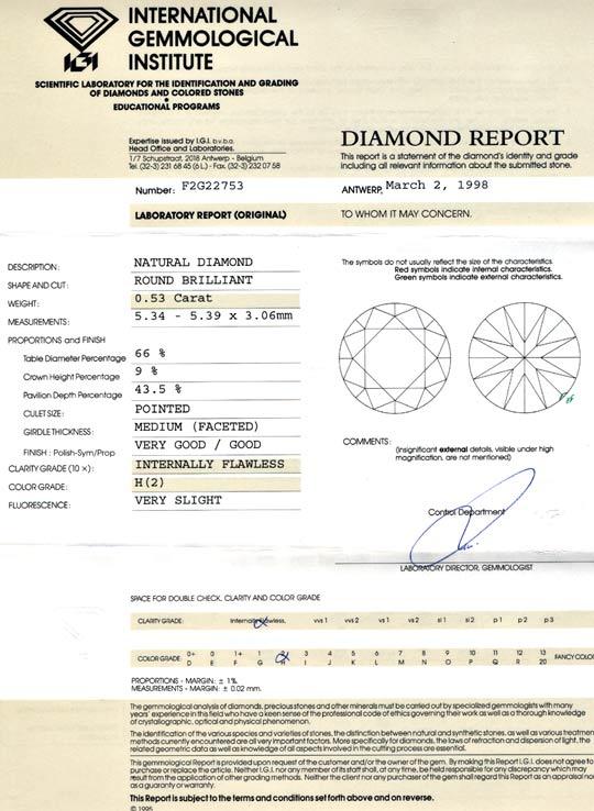 Foto 9, Diamant IGI! 0,53ct Brillant Lupenrein Wesselton Juwel!, D5650