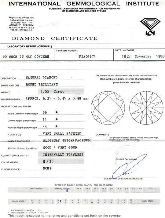 Foto 9, Diamant Einkaräter 1,02ct IGI Lupenrein Weiss-H Diamond, D5654
