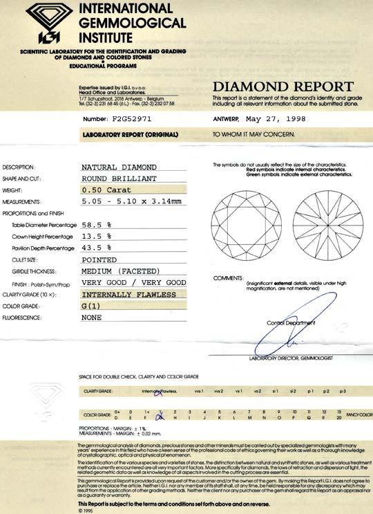 Foto 9, Diamant 0,50 Carat IGI Lupenrein Top Wesselton 2 Mal VG, D5655