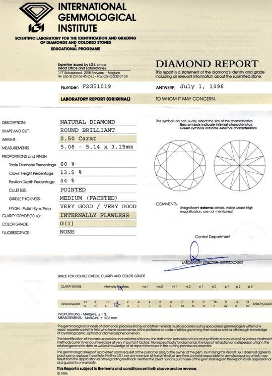 Foto 9, Diamant 0,50ct IGI Lupenrein Top Wesselton VG/VG Juwel!, D5656