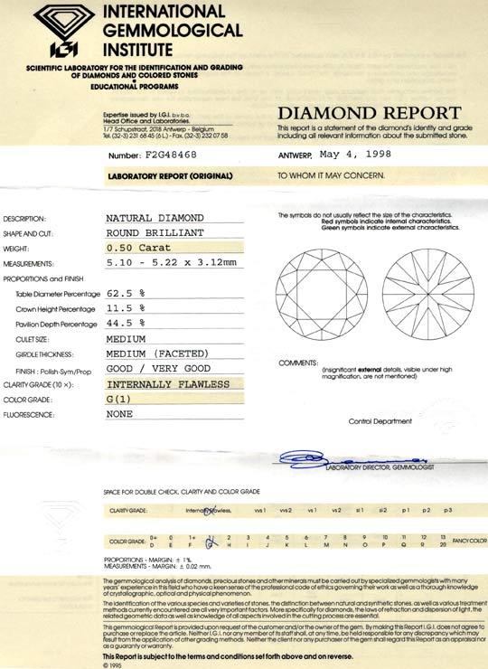 Foto 9, Diamant 0,50 IGI Brillant Lupenrein feines Weiss Juwel!, D5657