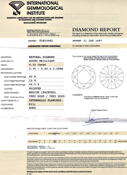 Foto 9, Diamant 0,32ct IGI Lupenrein Top Wesselton VG/VG Juwel!, D5658