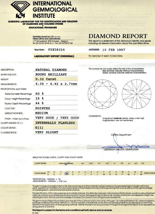 Foto 9, Diamant 0,32 IGI Brillant Lupenrein feines Weiss Juwel!, D5659