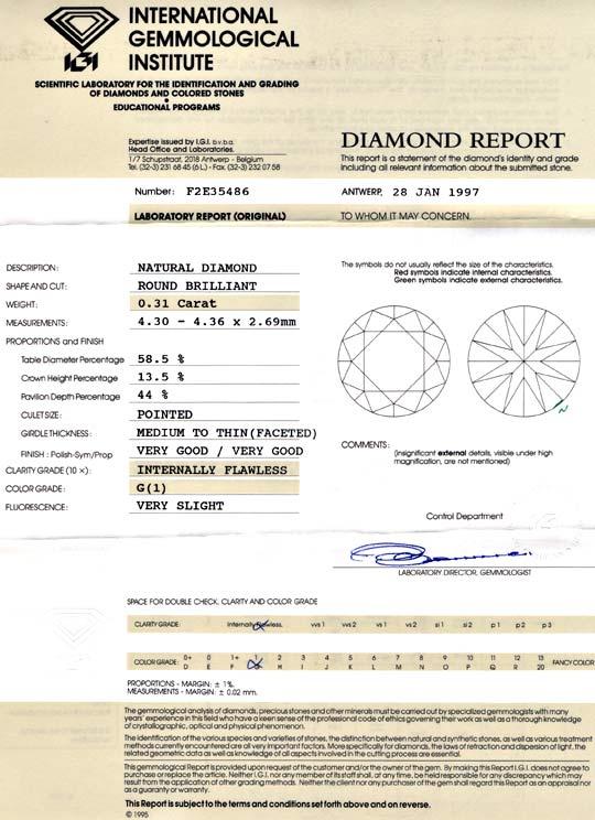 Foto 9, Diamant 0,3 IGI Brillant Lupenrein Top Wesselton Juwel!, D5660