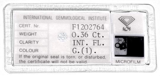 Foto 1, Diamant IGI 0.36 Carat Lupenrein Top-Wesselton-G Juwel!, D5667