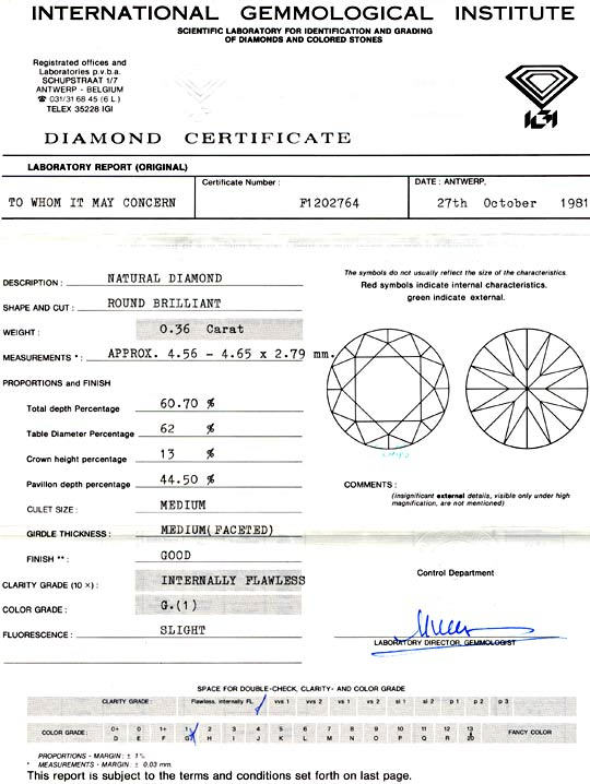 Foto 9, Diamant IGI 0.36 Carat Lupenrein Top-Wesselton-G Juwel!, D5667