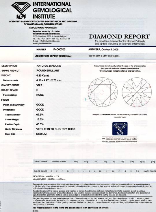 Foto 9, Diamant, IGI!!!, Brillant 0.30ct Weiss Wesselton Juwel!, D5671
