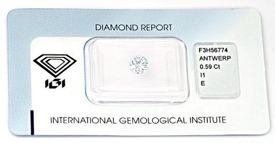 Foto 1, Diamant 0,59 Brillant River Hochfeines Weiss IGI Juwel!, D5672