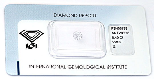 Foto 1, Diamant, IGI!!!, Brillant 0,40ct Top-Wesselton-G Juwel!, D5673