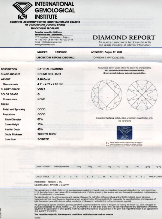Foto 9, Diamant, IGI!!!, Brillant 0,40ct Top-Wesselton-G Juwel!, D5673