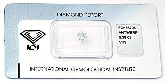 Foto 1, Diamant, Top-Gutachten IGI!, Brillant 0,39 Carat Juwel!, D5674