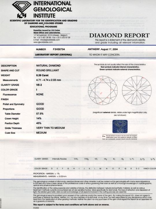 Foto 9, Diamant, Top-Gutachten IGI!, Brillant 0,39 Carat Juwel!, D5674