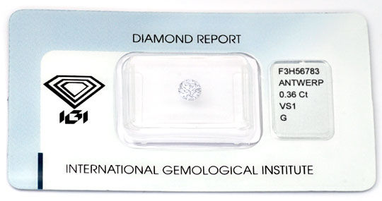 Foto 1, Diamant, 0,36ct Brillant Top-Wesselton-G VS1 IGI Juwel!, D5676