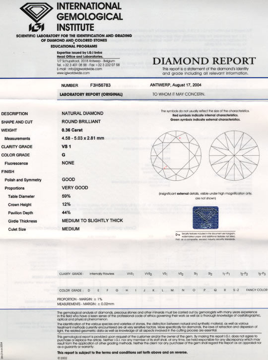 Foto 9, Diamant, 0,36ct Brillant Top-Wesselton-G VS1 IGI Juwel!, D5676