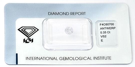 Foto 1, Brillant 0,35 Diamant River Hochfeines Weiss IGI Juwel!, D5677