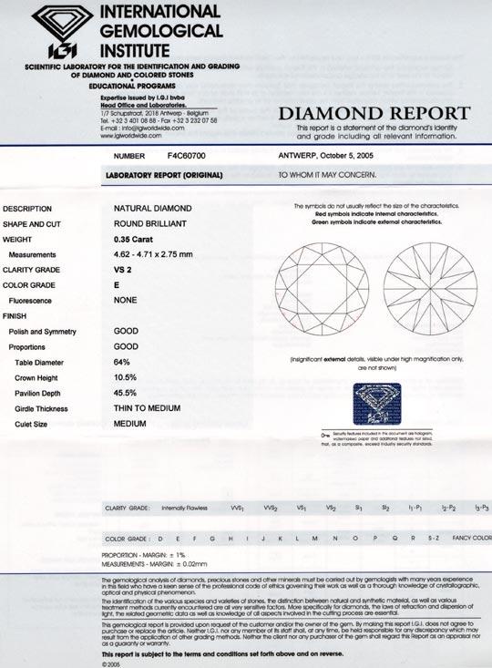 Foto 9, Brillant 0,35 Diamant River Hochfeines Weiss IGI Juwel!, D5677