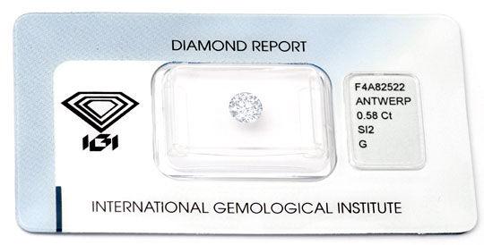 Foto 1, Diamant, IGI !!, 0,58ct Top-Wesselton-G SI VG VG Juwel!, D5682